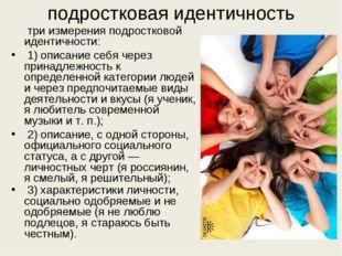 подростковая идентичность три измерения подростковой идентичности: 1) описани