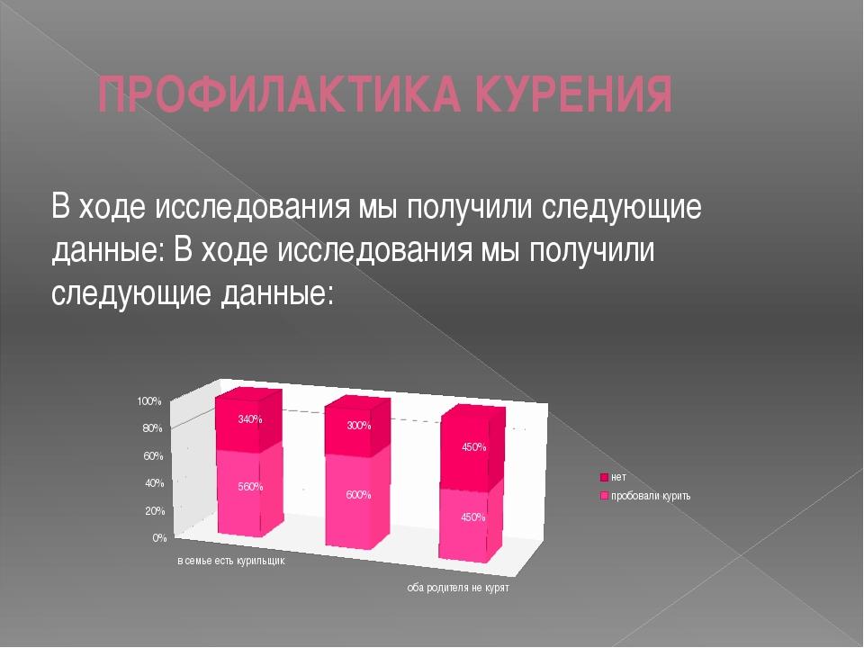ПРОФИЛАКТИКА КУРЕНИЯ В ходе исследования мы получили следующие данные: В ходе...