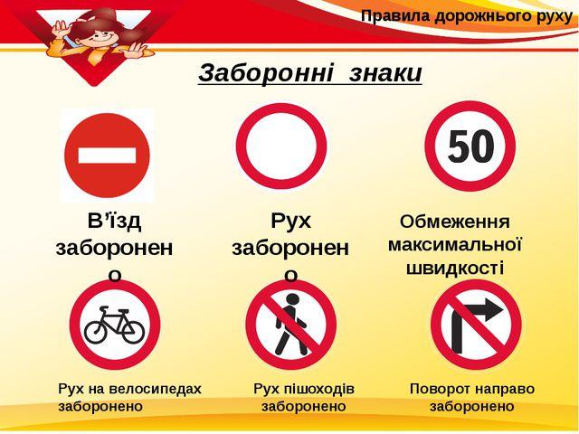 Правила дорожнього руху Заборонні знаки В'їзд заборонено Рух заборонено Обме...