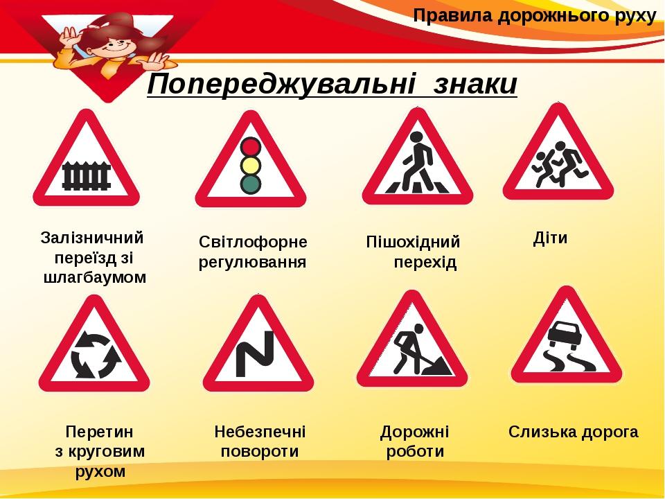 Правила дорожнього руху Попереджувальні знаки Залізничний переїзд зі шлагбау...