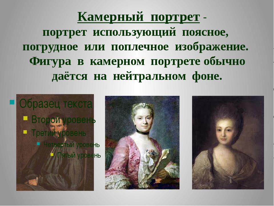 Камерный портрет- портрет использующий поясное, погрудное или поплечное изо...