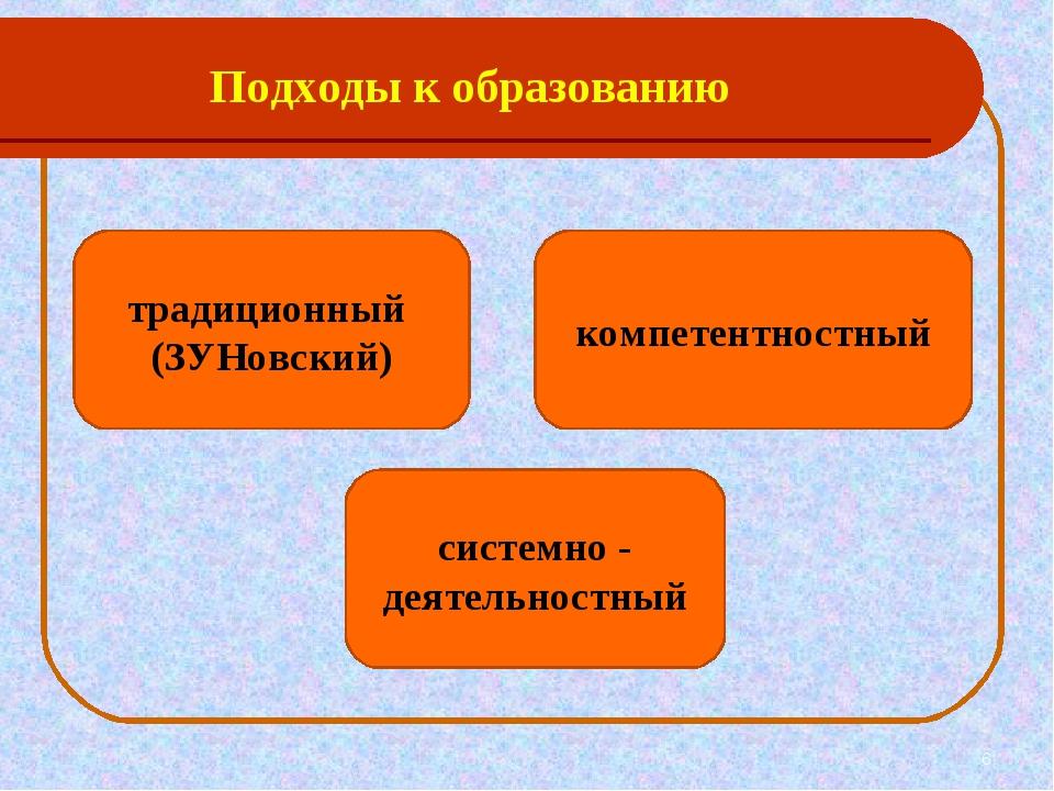 Подходы к образованию * традиционный (ЗУНовский) компетентностный системно -...