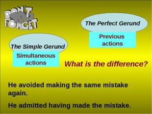 The Simple Gerund The Perfect Gerund What is the difference? He avoided makin