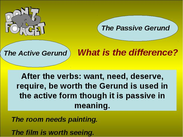 The Active Gerund The Passive Gerund What is the difference? After the verbs:...
