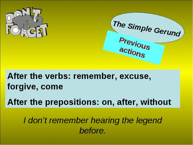 The Simple Gerund After the verbs: remember, excuse, forgive, come After the...