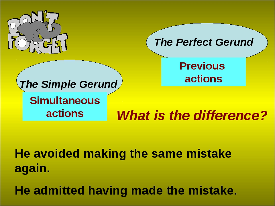 The Simple Gerund The Perfect Gerund What is the difference? He avoided makin...