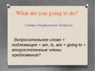 What are you going to do? Схема специального вопроса: Вопросительное слово +