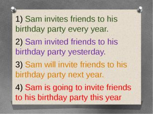 1) Sam invites friends to his birthday party every year. 2) Sam invited frie