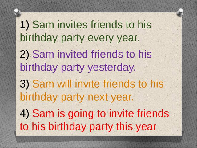 1) Sam invites friends to his birthday party every year. 2) Sam invited frie...