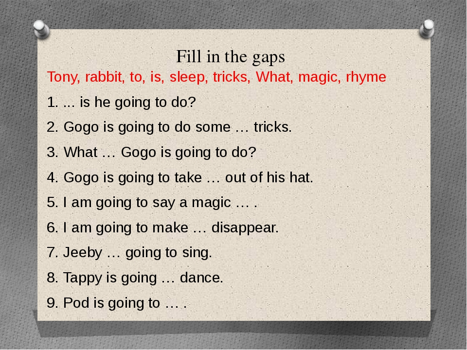Fill in the gaps Tony, rabbit, to, is, sleep, tricks, What, magic, rhyme 1. ....