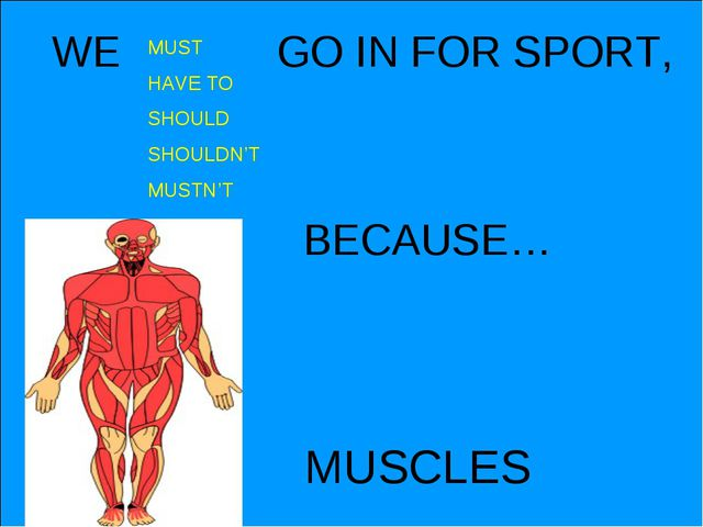 MUSCLES WE GO IN FOR SPORT, MUST HAVE TO SHOULD SHOULDN'T MUSTN'T BECAUSE…