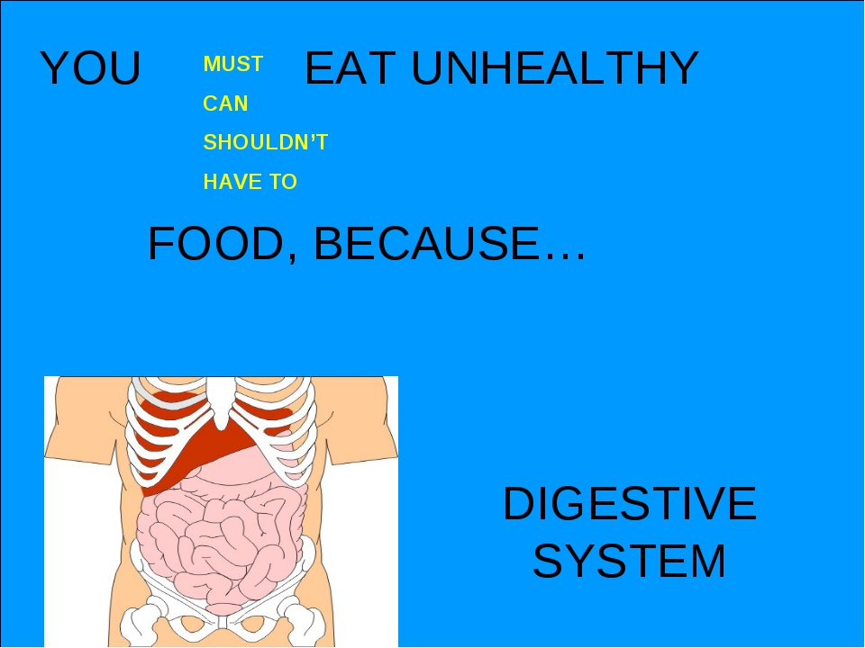 YOU EAT UNHEALTHY FOOD, BECAUSE… MUST CAN SHOULDN'T HAVE TO DIGESTIVE SYSTEM