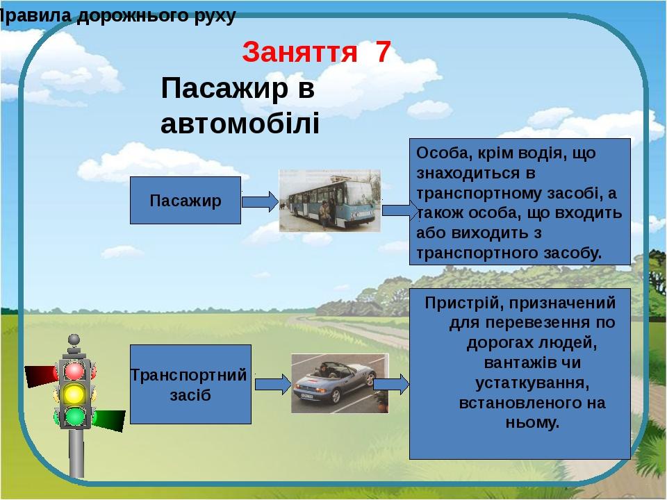 Правила дорожнього руху Пасажир Транспортний засіб Особа, крім водія, що знах...