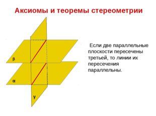 Аксиомы и теоремы стереометрии Если две параллельные плоскости пересечены тр