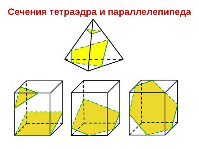 Сечения тетраэдра и параллелепипеда