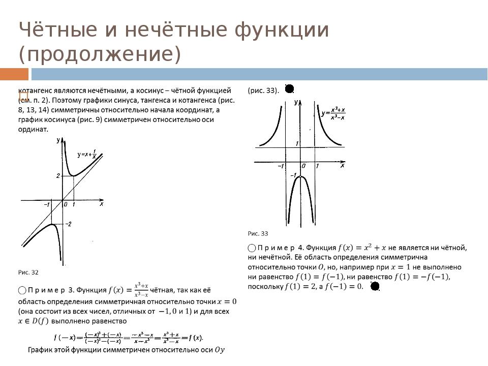 Чётные и нечётные функции (продолжение)