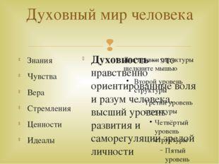 Духовный мир человека Знания Чувства Вера Стремления Ценности Идеалы Духовнос