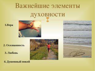 Важнейшие элементы духовности 1.Вера 2. Осознанность 3. Любовь 4. Душевный по