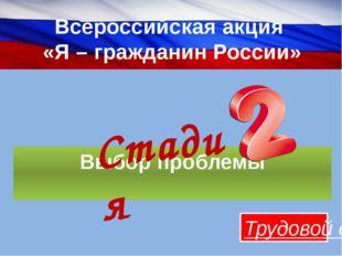Всероссийская акция «Я – гражданин России» Выбор проблемы Трудовой десант Ста