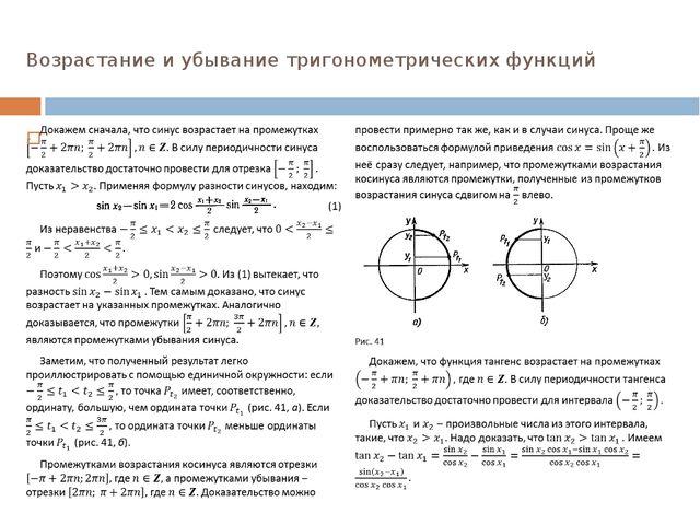Возрастание и убывание тригонометрических функций