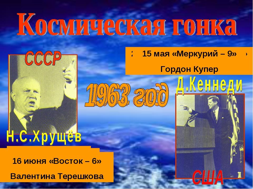 12 апреля - «Восход» ЮРИЙ ГАГАРИН 5 мая «Меркурий-3» Алан Шепард 3 октября «М...