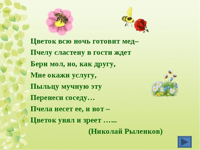 Цветок всю ночь готовит мед– Пчелу сластену в гости ждет Бери мол, но, как др...