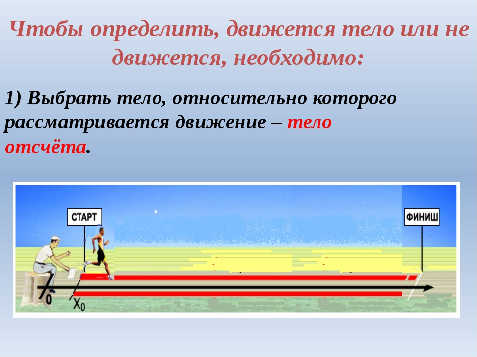 Чтобы определить, движется тело или не движется, необходимо: 1) Выбрать тело,...