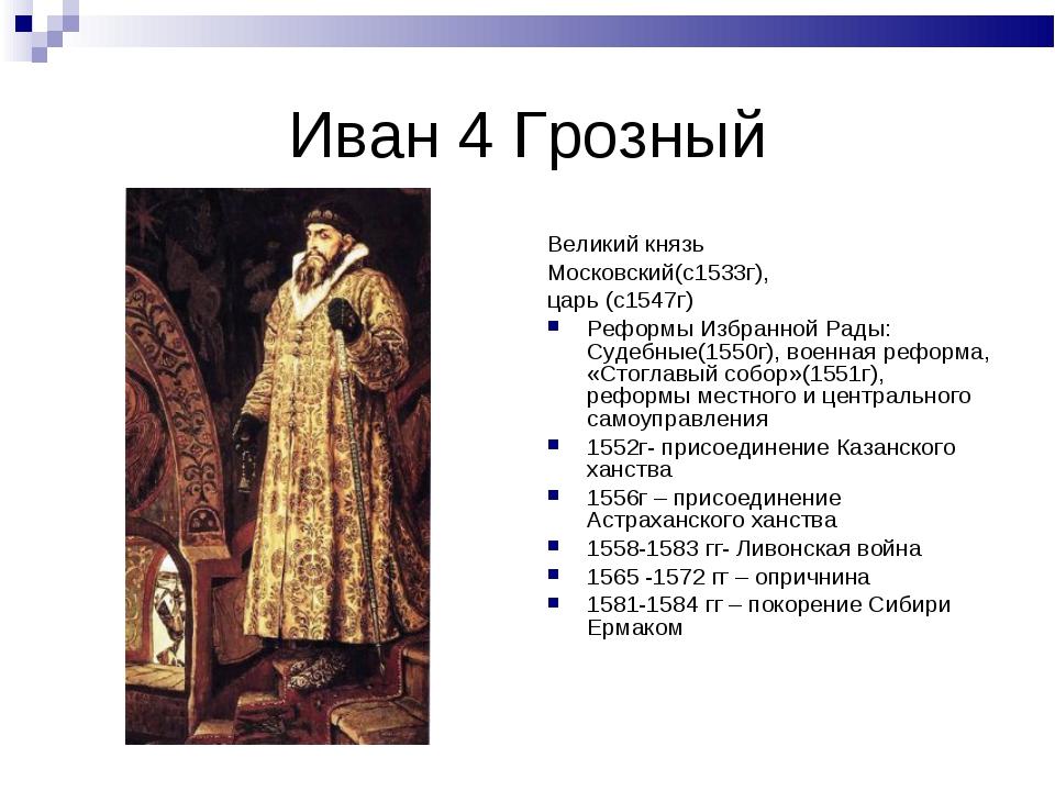 Иван 4 Грозный Великий князь Московский(с1533г), царь (с1547г) Реформы Избран...