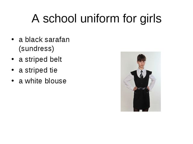 A school uniform for girls a black sarafan (sundress) a striped belt a stripe...