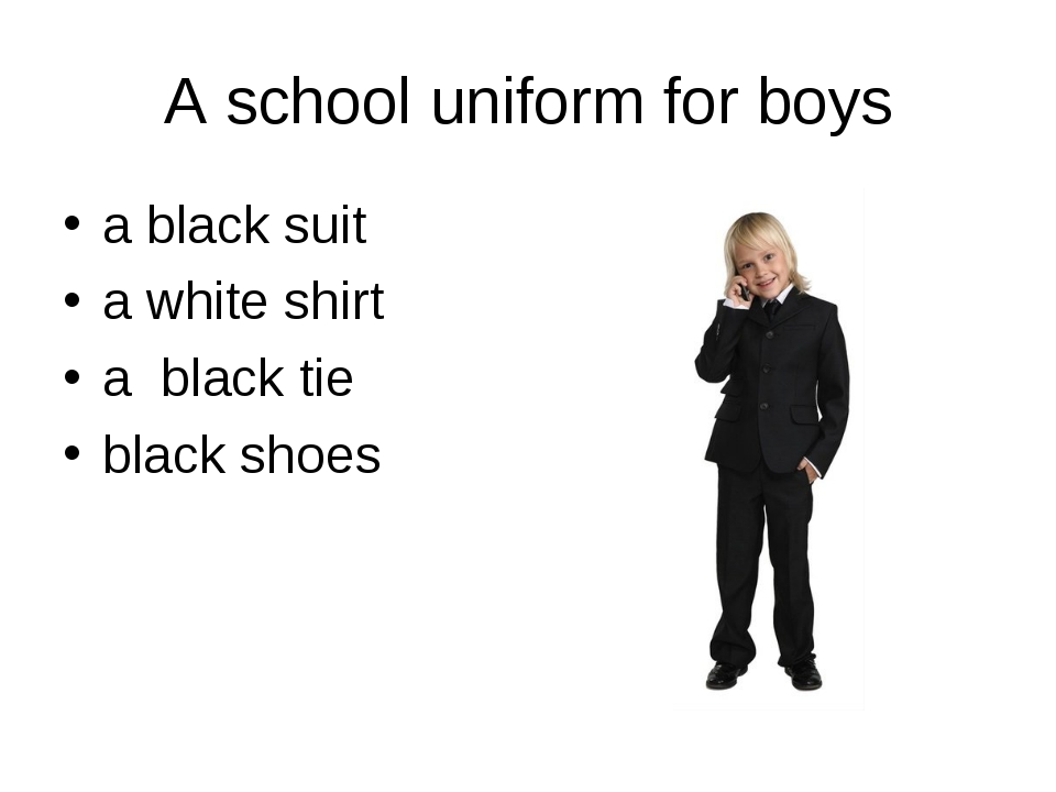 A school uniform for boys a black suit a white shirt a black tie black shoes