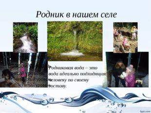 Родник в нашем селе Родниковая вода – это вода идеально подходящая человеку п