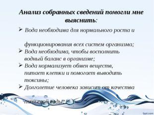 Анализ собранных сведений помогли мне выяснить: Вода необходима для нормально