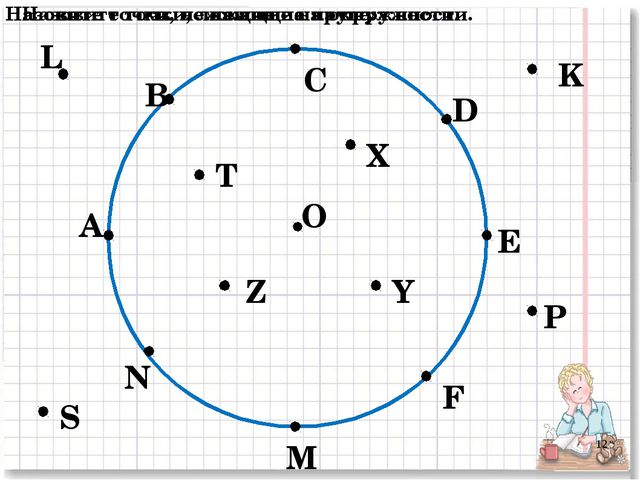 О А В С D E F M N P K L S T Z X Y Назовите точки, лежащие на окружности. Назо...