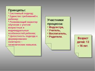 Принципы: * Системный подход; * Единство требований к ребенку; * Развивающий