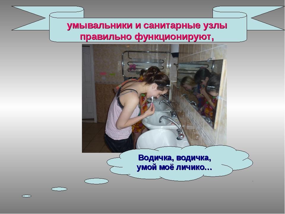 умывальники и санитарные узлы правильно функционируют, Водичка, водичка, умой...