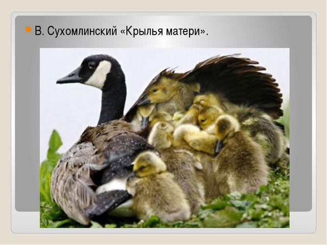 В. Сухомлинский «Крылья матери».