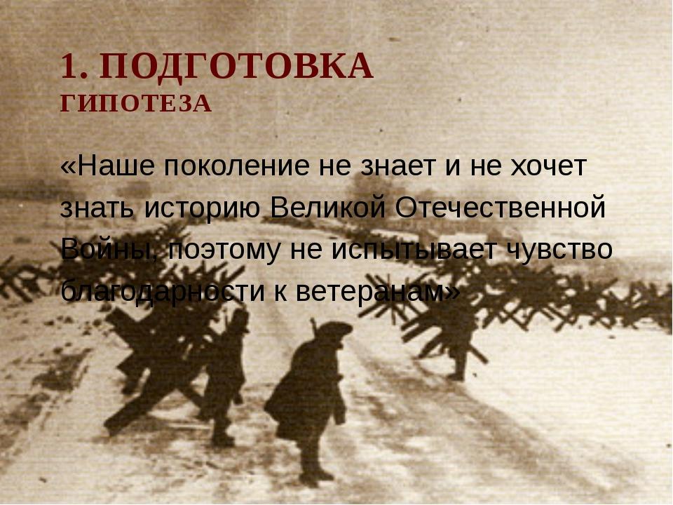 1. ПОДГОТОВКА ГИПОТЕЗА «Наше поколение не знает и не хочет знать историю Вели...