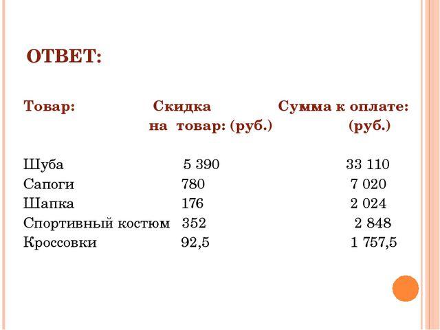 ОТВЕТ: Товар:  Скидка Сумма к оплате: на товар: (руб.) (руб.) Шуба 5 390 33...