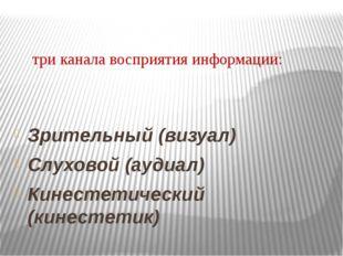 три канала восприятия информации: Зрительный (визуал) Слуховой (аудиал) Кине