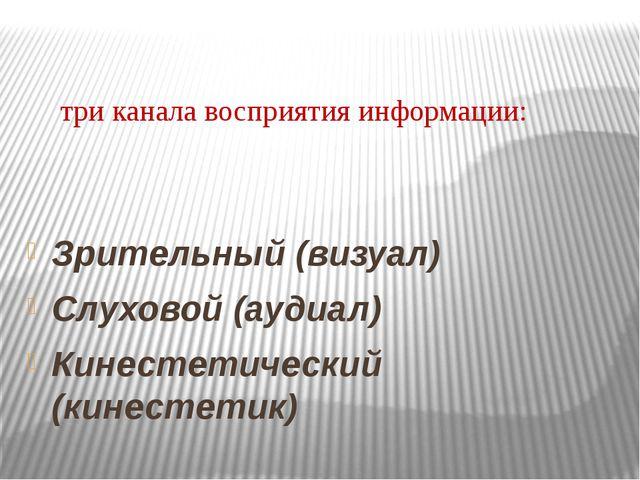 три канала восприятия информации: Зрительный (визуал) Слуховой (аудиал) Кине...