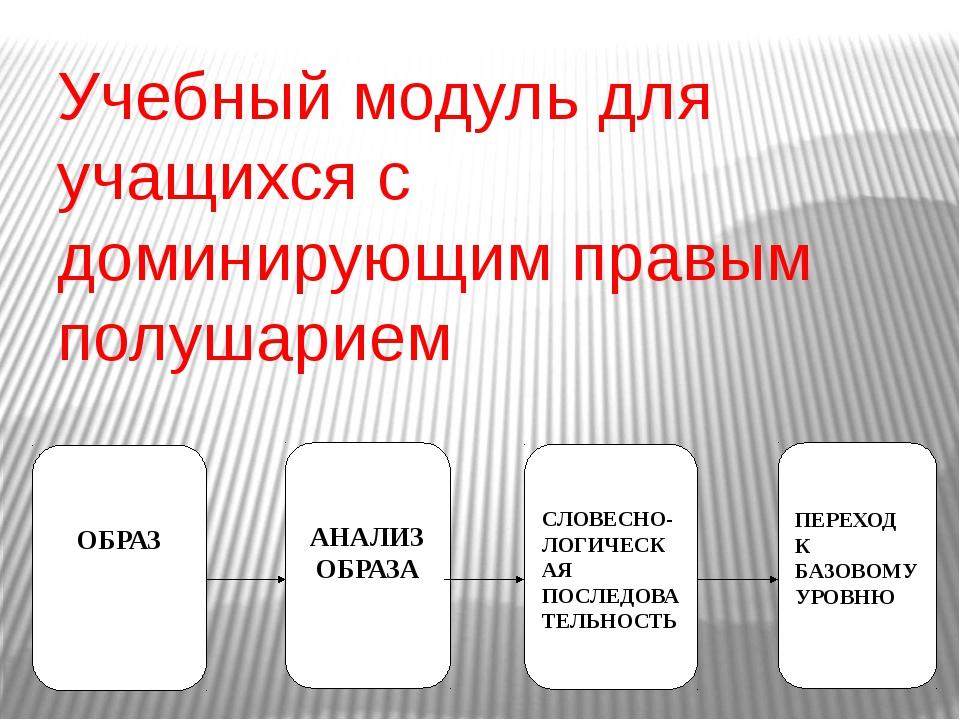 Учебный модуль для учащихся с доминирующим правым полушарием ОБРАЗ АНАЛИЗ ОБР...