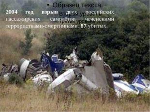 2004 год взрыв двух российских пассажирских самолётов чеченскими террористка