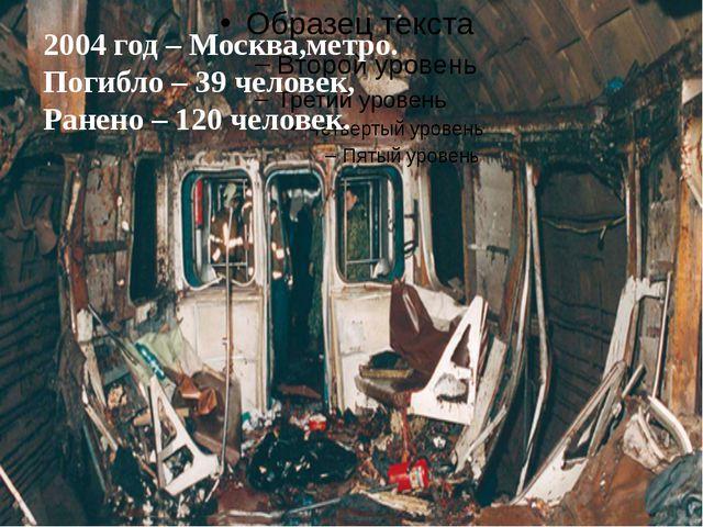 2004 год – Москва,метро. Погибло – 39 человек, Ранено – 120 человек.