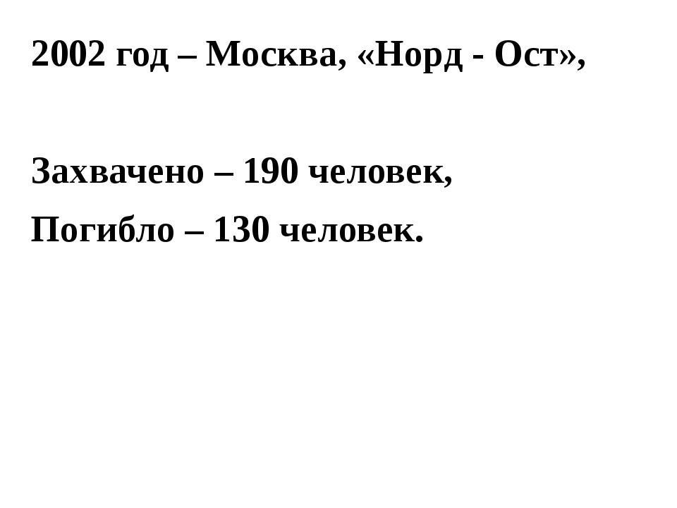 2002 год – Москва, «Норд - Ост», Захвачено – 190 человек, Погибло – 130 челов...