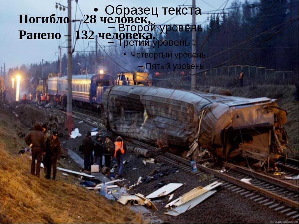 Погибло – 28 человек, Ранено – 132 человека.