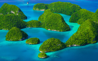 rock island palau, зелень, острова, море