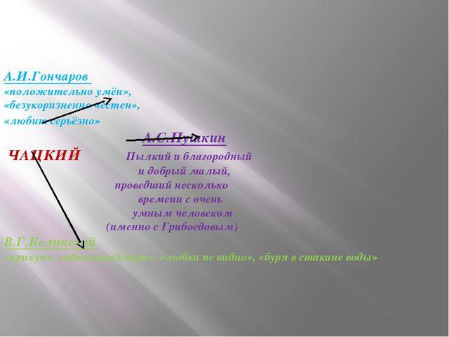 А.И.Гончаров «положительно умён», «безукоризненно честен», «любит серьёзно»...