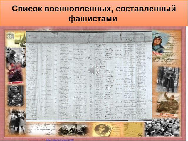 Список военнопленных, составленный фашистами