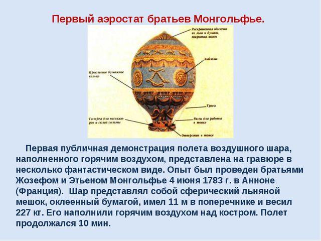 Первый аэростат братьев Монгольфье. Первая публичная демонстрация полета возд...