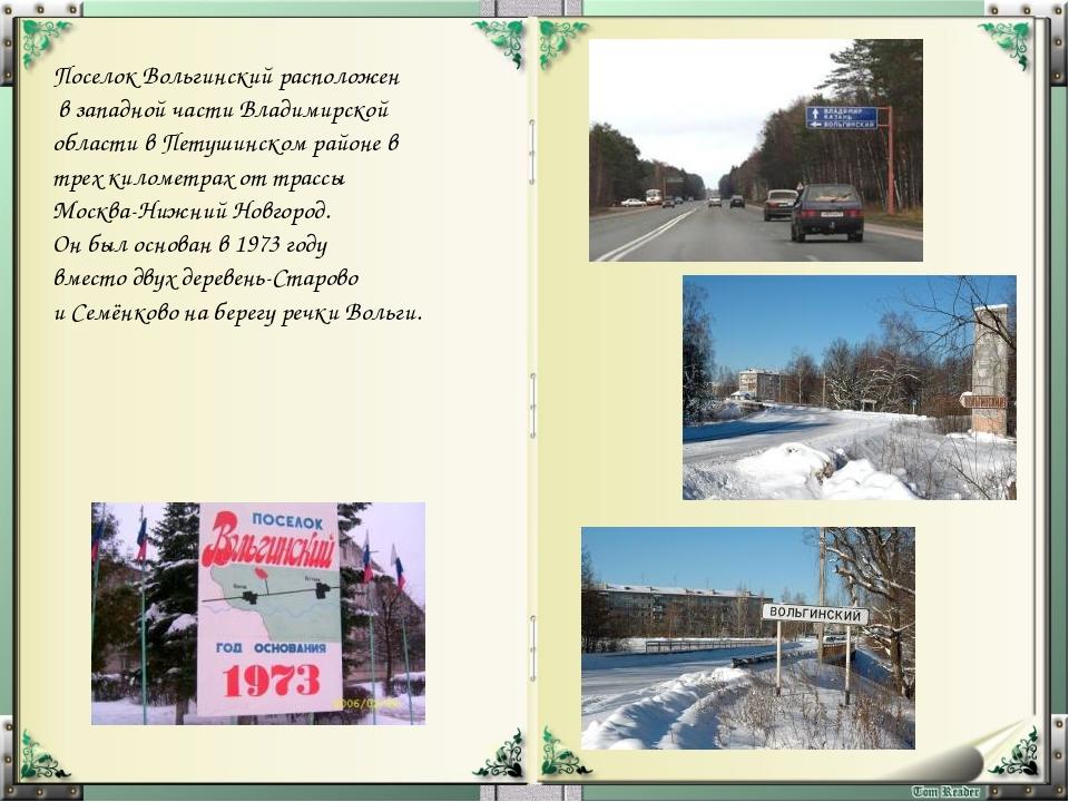 Стадион «Вольгарь» Плавательный бассейн Поселок Вольгинский расположен в зап...